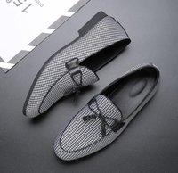 zapatos de lona de negocios informal al por mayor-2019 Moda Hombre Lona Zapatos de negocios Doug Cuero Punta estrecha Classic Wedding Slip-On Penny Casual Zapatos planos más el tamaño 38-47 da034