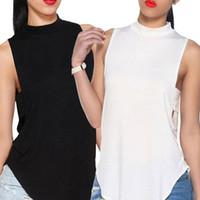 tanque de moda de damas al por mayor-Moda para mujer Damas sin espalda Cuello alto Tops Crop Tank Camiseta para mujer Bralette