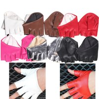 halbe strumpfhosen frauen großhandel-Verschiedene kühle Art und Weise Frauen-Dame Trendy festen Halb Palm Fingerhandschuh Lederimitat
