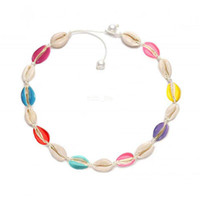 Wholesale natural pearl shell pendant resale online - Colorful Pearl Shell Choker Necklace Rope Chain Natural Collar Necklace Boho Seashell Necklaces Women Summer Beach Party Jewelry LJJA2603
