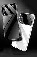 ayna cam iphone durumda toptan satış-Huawei P30Lite P30Pro için iPhone XS Için Max XR X 8 7 6 5 Lüks Cam Ayna Arka Kapak PC Çerçeve Telefon Kılıfı
