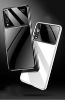 ingrosso caso di vetro dello specchio di iphone-Per Huawei P30Lite P30Pro Per iPhone XS Max XR X 8 7 6 5 Custodia per cellulare con cornice posteriore in vetro