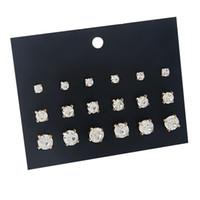 маленькая простая серьга оптовых-9 пар / комплект Кристалл маленькие простые серьги набор пирсинг мяч Стад серьги женщины ювелирные аксессуары комплект бижутерия Brincos
