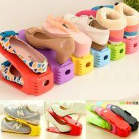 stand de boxeo al por mayor-Doble capa Organizador de calzado ajustable Calzado ajustable Ranura de soporte Gabinete Ahorro de espacio Armario Soporte para zapatos Estante de almacenamiento Caja de zapatos
