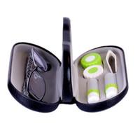 lentes usadas venda por atacado-Nova caixa de lente de contato quente criativo dual-use parceiro olho óptico companheiro caixa de couro pu multi-color miopia caixa de óculos presbiopia DHL livre