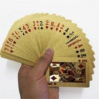 cartões de poker de folha de ouro 24k venda por atacado-Magic Card Ouro 24K Baralho Poker Baralho folha de ouro Poker Set plástico impermeável Mágica