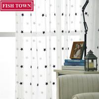 cortinas venda por atacado-Ycentent dois kinds estrelas cortina de voile bordado para cozinha sala de estar quarto cortinas de tule para o tratamento de janelas