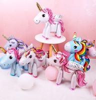 розовые фиолетовые шары свадьбы оптовых-3D DIY милые радужные воздушные шары фольги единорога Розовый Синий Фиолетовый Единорог Стенд Воздушные Шары Свадьба День Рождения Декор детские игрушки