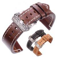 bracelets de montres en cuir vintage achat en gros de-Bracelet en cuir grainé avec boucle en acier inoxydable