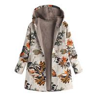 parka montları kadın dış giyim toptan satış-Feitong Vintage Bayan Kış Sıcak Parkas Coat Retro Nedensel Dış Giyim Çiçek Baskı Kapşonlu Cepler Boy Palto Kabanlar Kadın