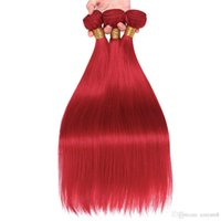 Wholesale red brazilian straight hair weave resale online - Red Straight Hair Bundles Brazilian Human Hair Weave Bundles Non Remy wig Extension Pieces