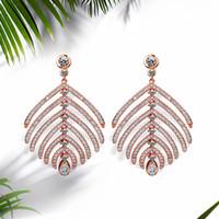 ingrosso nj oro-NJ Rose Gold Designer a forma di foglia orecchini per la donna 2019 gioielli di moda signore orecchini fidanzamento regalo per la donna