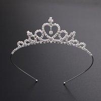 elmas taç çocukları toptan satış-Çocuklar Kadınlar Kızlar Firkete Prenses Taç Gümüş Kristal Saç Hoop Takı Elmas Tiara Kafa Saç Aksesuarları