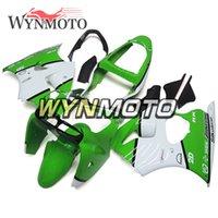 kit de cuerpo blanco kawasaki zx6r al por mayor-Verde brillante ABS blanco Plástico Motocicleta Carenados completos para Kawasaki ZX6R ZX-6R Ninja 2000 2001 2002 Kits de cuerpo Cubiertas de inyección ZX-6R 00 01