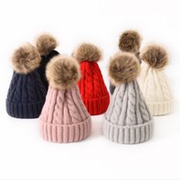 Wholesale winter skullies resale online - Fur Pompom Hat Winter Knit Beanie Hats Unisex Warm Caps Elasticity Knitted Cap Thick Warm Solid Color Skullies Beanies RRA1927