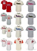 beyzbol formaları kırmızı toptan satış-Özel erkek kadın gençlik Majestic Phillies Jersey # 00 Herhangi Adınız ve numaranız Ev Kırmızı Siyah Gri Beyaz Çocuk Kız Beyzbol Jerse
