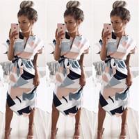 figura geométrica venda por atacado-Figura geométrica Vestido V Neck One Piece saia impressão de bloco vestidos Sexy mulheres verão praia 17fy f1