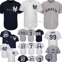 mejores camisetas al por mayor-99 Aaron Judge New York jerseys Yankees 25 Torres 2 Jeter 27 GS 24 Sánchez camisetas 3 Ruth 7 Mantle El más vendido de Jersey