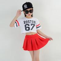 ballsaal dancewear großhandel-Kinder Lose Cropped Tops T-Shirts Lässige Hip Hop Rock Mädchen Ballroom Dance Kleidung Mode Modern Dance Kostüm Dancewear
