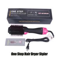 pente elétrico secador de cabelo venda por atacado-One Step Secador de cabelo Styler escova Volumizer sopro Straightener Curler Salon 4 em 1 rolo Elétrica Hot Air Curling Iron Comb alta qualidade