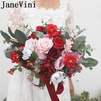 buquê de peônia vermelha artificial venda por atacado-JaneVini Pink Rose Fleur Bouquet Casamento Vermelho Artificial Silk Flowers Bride Bridal Peony Bouquet para damas de honra Fita 2019 Wedding Fornecedor