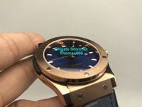 relojes de cara azul al por mayor-2019 Super Factory Luxury Watch Caja de oro rosa Cara azul Correa de caucho de alta calidad 2813 Relojes para hombre automáticos Relojes de pulsera originales Clas