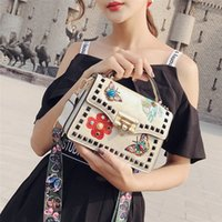Wholesale vintage embroidered flowers bag resale online - 2019 Vintage Fashion PU Leather Handbags Women s Designer Handbag Embroidered Flower Rivet Tote Bag Lady Shoulder Messenger Bag