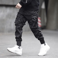 pantalones multi hombre al por mayor-Hombres Hip Hop Pantalón largo Multi bolsillo Pantalones de moda y casuales Pies de moda Ocio Pantalón Hip Hop Pantalones Harajuku de carga
