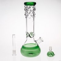 12 zoll bubbler groihandel-Zufällige Farbe Bongs mit Downstem und Schüssel 12 Zoll groß 14.4mm Joint Beade Mund Rauchen Bubbler Hookahs Rceycler Dab Rigs Glass Waterpipe