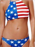 amerikanische flagge badeanzüge großhandel-Bikini-Damenbadeanzug 2019 neuer europäischer und amerikanischer Explosionsflaggenmuster Kreuz-Ansatz Schnalle reizvoller