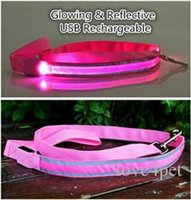 Wholesale led reflective dog collar resale online - B14 Reflective Pet dog LED leahses leads pet traction rope pull strap for dogs cats cm length battery and USB Rechargeable