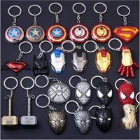 accesorios de animación al por mayor-100 piezas, equipos de animación de la película del héroe de la aleación pendiente de la llave del automóvil cadenas del anillo dominante de Iron Man Mask Accesorios Animación de dibujos animados regalo