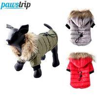 ropa de cachorros yorkie al por mayor-pawstrip XS-XL caliente chaqueta de la capa del perro ropa de invierno Pequeño perrito trajes para Chihuahua Yorkie perro ropa de invierno Mascotas Ropa