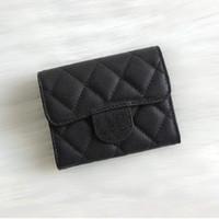 münzenbox preis großhandel-2018 mode design kurze brieftasche aus echtem leder cavier falten brieftaschen kartenhalter münzbeutel mit box guten preis