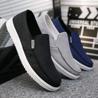 Wholesale old peking shoes resale online - Men Canvas Loafer Low Cut Casual Shoes Male Fashion Derby Old Peking Shoes Summer Denim Footwear Slip on Winklepickers