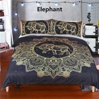 cama de rainha elefante venda por atacado-Thumbedding Dropship Elefante Conjuntos de Cama de Solteiro Gêmeo Completa Rainha Rei Colorido Capa de Edredão Set Decorativo Lençóis Para O Quarto 3 PCS