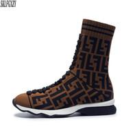 peluche authentique achat en gros de-Chaussettes tricotées à la mode européenne pour femmes bottes tricotées styles authentiques doublure femme bottes chaussures tailles 34-42