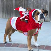 ingrosso set di fibre-p109 chritmas natale del gatto dell'animale domestico del cane Pet Dog vestiti di natale Babbo Natale a cavallo cervi Cani vestire Vacanze di Natale rifornimento della decorazione