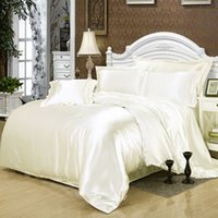 Wholesale silk tencel bedding sets resale online - Tencel four piece solid color silk satin sheets quilt cover bed nude sleeping ice silk piece set bedding fitted sheet and flat sheet