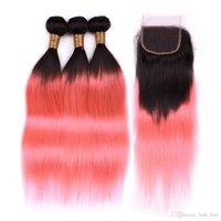 weave bundles closure toptan satış-Hint insan saçı # 1b / pembe ombre demetleri kapatma düz ombre gül altın örgüleri 3 demetleri koyu kökleri 4x4 dantel ön kapatma