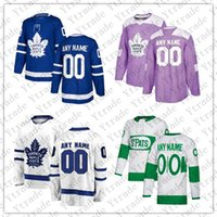 kişiselleştirilmiş hokey formaları toptan satış-Özel 2019 St. Pats Toronto Maple Leafs Beyaz Jersey Kişiselleştirilmiş Herhangi Bir Numara Adı Erkek Marner Kapanen Kadri Rielly Muzzin Johnsson Hokey
