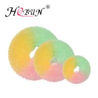 ingrosso attrezzo di fustellatura del panino-HOBUN 2019 Hot Rainbow Fashion Hair Bun Donna Capelli bun Accessoriess Girl Donuts Disco Braiding Tool 1000pcs / Lot 0919