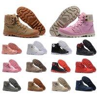 botas de caminhadas marrons homens venda por atacado-2019 Botas de tornozelo de luxo de paládio para mulheres dos homens de moda marrom rosa preto branco lona alta top sapatos de caminhada casuais tênis 35-45