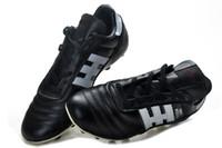 tacos negros messi al por mayor-Zapatos de fútbol al aire libre 100% originales negros / blancos Copa Mundial FG Messi Botas de fútbol Botines de fútbol con tobillo Hink