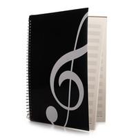 musik-tastaturen großhandel-Blankoblatt Aufsatzmanuskript, Notenbuch, Musikstudentenmanuskript, Klaviertastatur-Notenheft schwarz 50 Seiten 26 x 19 cm