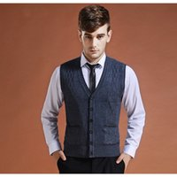 мужской свитер v шея вязать оптовых-2018 New Men's Casual Wool Knit Vest Sweaters Men V-Neck Fashion Basic Cardigan Sleeveless Sweater  Clothing