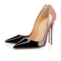 zapatos de vestir color nude al por mayor-Zapatos de mujer de moda tacones altos de fondo rojo 8cm 10cm 12cm Desnudo negro rojo rosa Zapatos de cuero con punta puntiaguda Bombas Zapatos de vestir con caja
