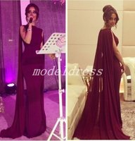 châle en mousseline rouge achat en gros de-Robes de soirée sirène rouge foncé arabe avec châle Bateau balayage train en mousseline de soie formelle robes de soirée de bal robe de célébrité occasion spéciale robe