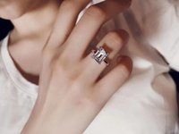 Fashion-2020 early spring series single diamond ring S925 silver plated 18K gold emerald cut women's fashion jewelry