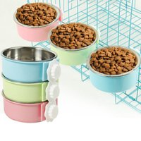 Wholesale dog cages for sale - Group buy Pet Hanging Single Bowl Dog Cat Food Bowl Stainless Steel Hanging Cage Thick Fixed Pet Bowl Pet Products for Dog